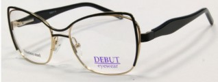 Черная с золотом медицинская оправа Debut Eyewear